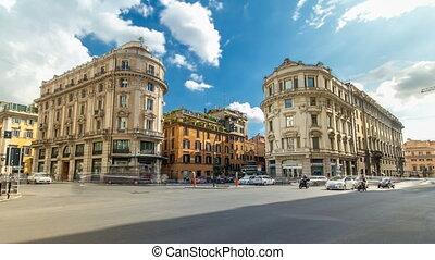 Urban scene timelapse hyperlapsein Rome Italy. Old buildings...