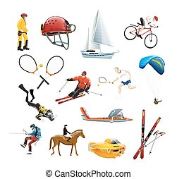 Extreme sport icons set - The vector illustration of extreme...