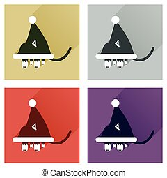 Set of flat icons with shadow Cat in Santa hat