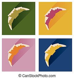 Modern flat icons vector collection with shadow croissant chocolate