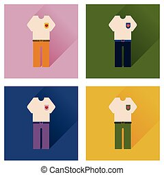 Set of flat icons with long shadow shirt pants