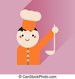 flat icon with long shadow cook with ladle