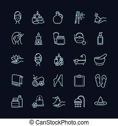 Vector Spa and Beauty thin line icons set on a black background