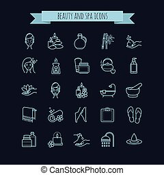 Spa and Beauty vector  thin line icons set on a black background