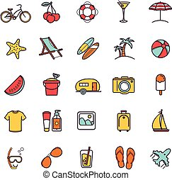 Vector summer thin line icons for your design