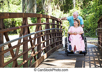 Disabled Senior Couple in Park - Senior man pushes his...