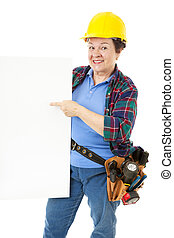 Female Construction Worker - Sign