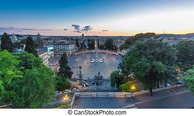 Aerial view of the large urban square, the Piazza del Popolo...