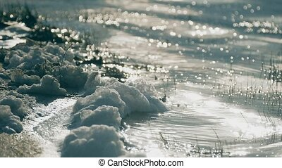 white foam on the water slow motion video - white foam on...