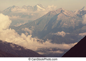 Caucasus mountains in summer time