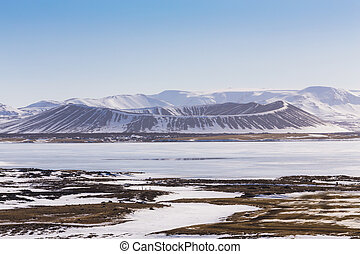 Myvatn volcano in winter season, Iceland, natural landscape...