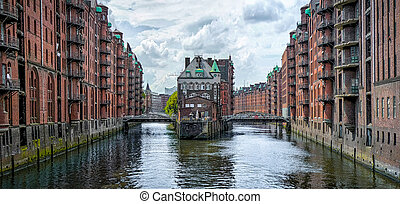 Speicherstadt warehouse district in Hamburg, Germany -...