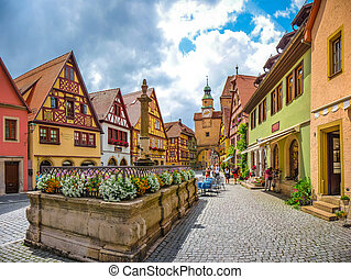Historic town of Rothenburg ob der Tauber, Franconia,...