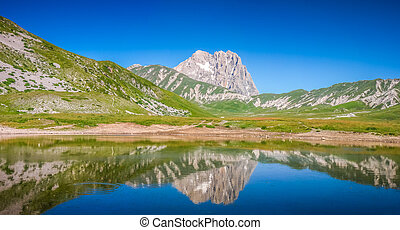 Gran Sasso mountain summit at Campo Imperatore plateau,...