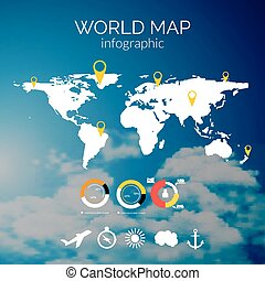 vector world map illustration and infographics design template on cloudy sky background