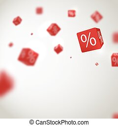 3D red discount boxes dice for store market and shop. Sale promotional concept