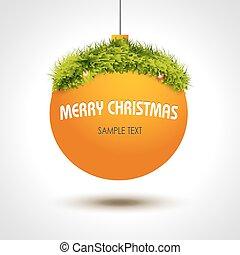 Christmas ball background with xmas tree
