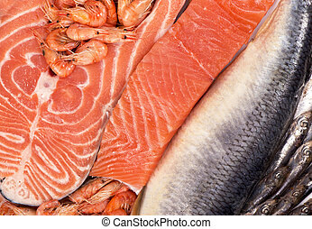 fresh fish and shrimp - composition consists of chopped...