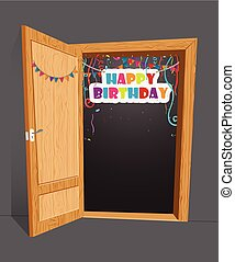 Birthday surprise with open door - Vector Illustration of...