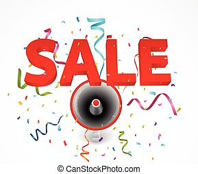 Sale with megaphone and colorful