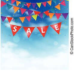 Sale background on bunting flags - Vector Illustration of...