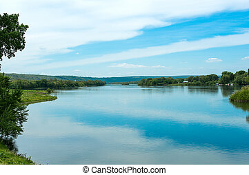 spring landscape of the Dniester River on the border of...