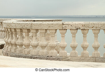 balustrade and view for Tagus river - balustrade on roof...