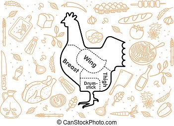 Vector illustration of chicken and vegetables