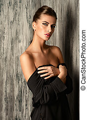 bare shoulders - Portrait of a beautiful sensual young woman...