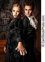 Dracula and his love - Beautiful man and woman vampires...