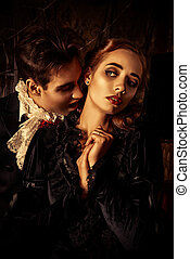 kiss of death - Bloodthirsty male vampire in medieval dress...