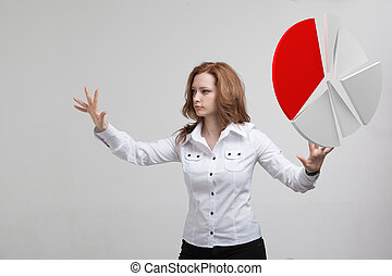 Woman shows a pie chart, circle diagram Business analytics...