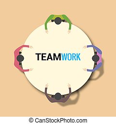 Group of business people working on office table. Team work concept
