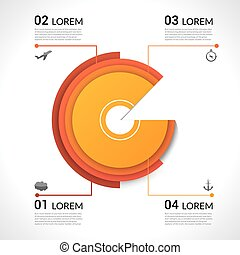 Modern infographics pie chart for web, banners, mobile applications, layouts. Vector eps10 illustration