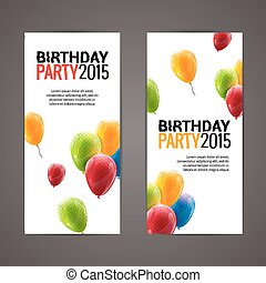Holiday banners with colorful balloons. Vector illustration