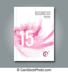 Business design report and spots pink geometric banners for...