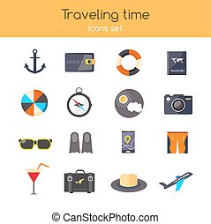 Flat design. icons set of planning a summer vacation travelling, holidays, journey, tourism, travel objects, passenger luggage. Isolated on stylish blue background with shadows.