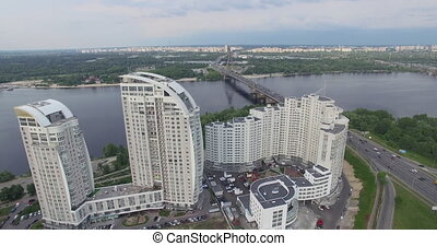 Aerial view of the city and the bridge