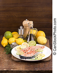 Steak of red fish and lenon - Steak of red fish and sliced...