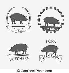 Set of pork label