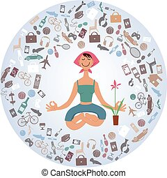 Find inner peace - Cartoon woman sitting in yoga pose,...