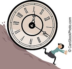 Time management - Woman running from a huge clock rolling...