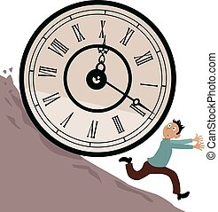 Time management problem - Stressed man running from a huge...