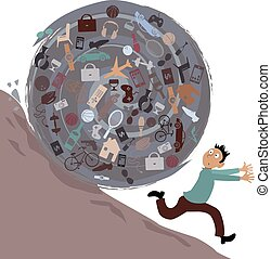 Consumerism - Scared man running from a huge rolling ball of...
