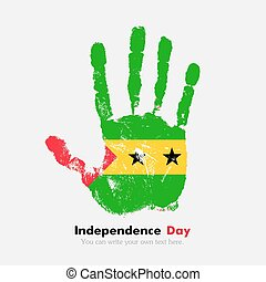 Handprint with the Flag of Sao Tome and Principe in grunge...