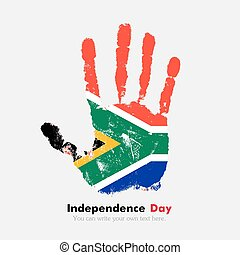 Handprint with the Flag of South Africa in grunge style