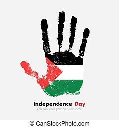 Handprint with the Flag of Palestine in grunge style