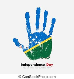 Handprint with the Flag of Solomon Islands in grunge style -...