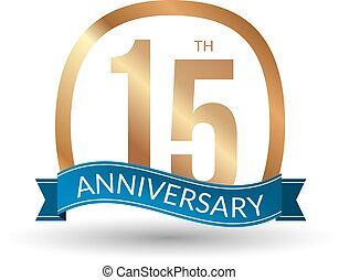 15 years anniversary experience gold label, vector illustration