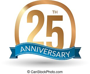 25 years anniversary experience gold label, vector illustration